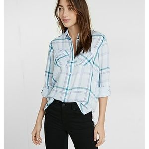 NWT Express Plaid Boyfriend Shirt